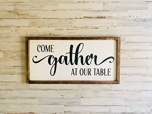 43LenaJon komen verzamelen aan onze tafel, ingelijste kunst, familiebijeenkomst, verzamelen muurdecoratie, eetkamer Art, onze tafel muur Decor, verzamelen plaats teken, Gath