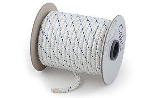 wellenshop Festmacher-Leine Ø8 mm Länge 20m Weiß Polyester PES Tauwerk Tau Polyesterleine Seil Anlegeseil Anlegeleine