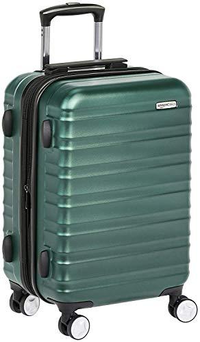 Amazon Basics - Maleta de mano rígida de alta calidad, con ruedas y cerradura TSA incorporada, 55 cm, Verde