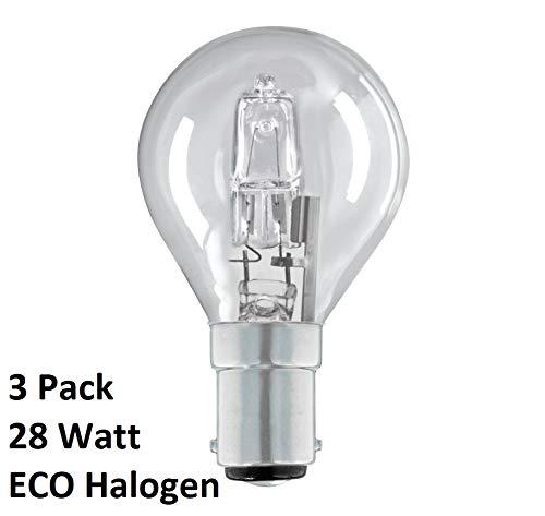 Halogen-Glühlampen, Golfball/Mini Gobe B15d G45 / P45, dimmbar, energiesparend, B15, SBC, kleiner Bajonettsockel, 240 V, 28 W = 40 W, inklusive Leuchtmittel