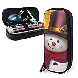 shenguang Muñeco de nieve con sombrero Estuche para lápices de cuero sintético, estuche...