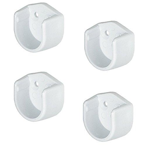 Gedotec Schrankrohr-Aufhänger Schrankrohrlager rund für Kleiderstangen Ø 18 mm | Rundrohr-Halter für Schrankrohr-Stange | Kunststoff weiß | 4 Stück - Schrankstangen-Halterungen für die Wand-Montage