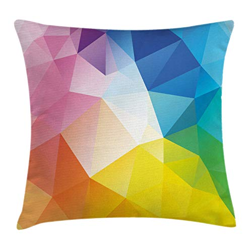 Ambesonne Modern Throw Pillow Cushion Cover, Abstract Fractal Rainbow Colored Lines Polygonal Dimension Style Contemporary Design, Decorative Square Accent Pillow Case, 16