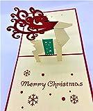 BC Worldwide Ltd tarjeta de Navidad emergente 3D hecha a mano Feliz Navidad reno copos de nieve exóticos saludos de origami vintage