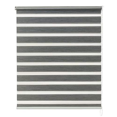 Baytex Duo Rolgordijn Stripes 150 cm x 240 cm Donker Grijs