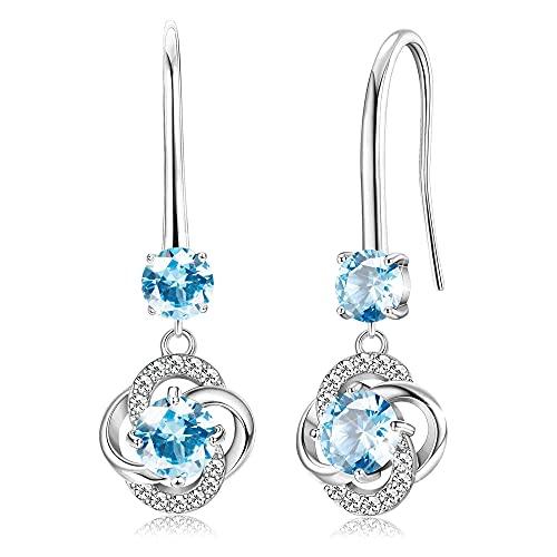 Sllaiss Austria Crystal Dangle Earrings 18K White Gold Blue Crystal Drop Earrings for Women love Celtic Knot Earrings for Anniversary Birthday