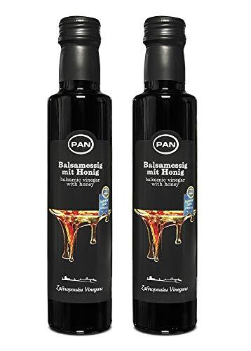 Premium Balsamico Essig mit Honig | ohne Fett | mild | aus Griechenland | 2x 250ml Glas-Flasche