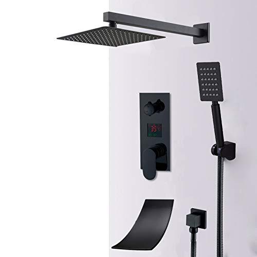 ZYHYCH Juego de grifos de ducha con pantalla digital LED negro mate, sistema de ducha de bañera negra con cascada de lluvia, grifo mezclador de baño de ducha digital LCD, cascada de 3 vías, 8 pulgada