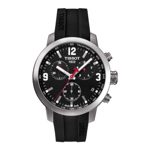 Armbanduhr Tissot PRC 200T055.417.17.057.00Quarz (Batterie) Stahl Quandrante schwarz Armband Gummiarmband '