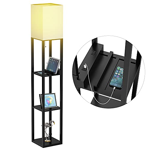 Floor Lamp with Shelves, Shelf Floor Lamps by Real Solid Wood with 2 Charging Ports and 1 Power...