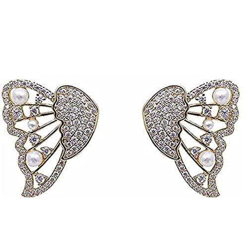 HJKLL Aretes De Mariposa con Perlas Y Diamantes - Aretes De Perlas De Mariposa, 5 Formas De Usar, Aretes De Perlas HipoalergéNicos para NiñAs Adolescentes 1 Pares