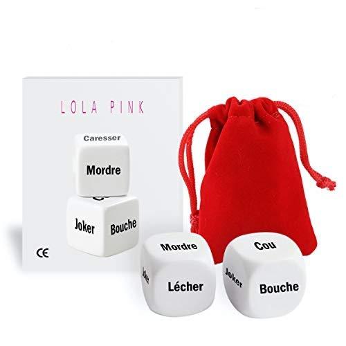 O³ Dés Coquins Lola Pink - Egaillez Vos soirées Grace aux 2 Dés Lola Pink Tout en Français - Livrés avec Un Petit Sac de Rangement-eBook Offert