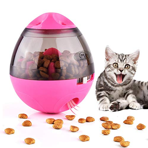 PFC168 Dog & Cat Toys Pet Food Container Dog Slow Feeder Bowl Cat Puzzle Dispenser, Small Interactive Collapsible Stimulating Play Toy, Adjustable Treats Eat Canister, Funny Maze Gym Ball - Pink