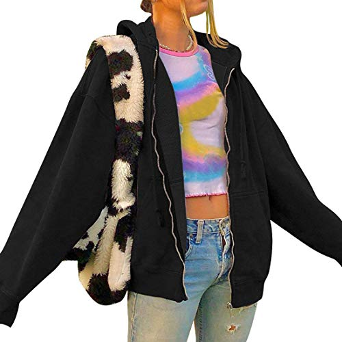 Vertvie Damen Hoodie Vintage Reißverschluss Sweatshirt Samt Loose Winter Jacke Langarm große Tasche Fleece Outwear Mit Kapuze Kurzmantel (Schwarz,M)