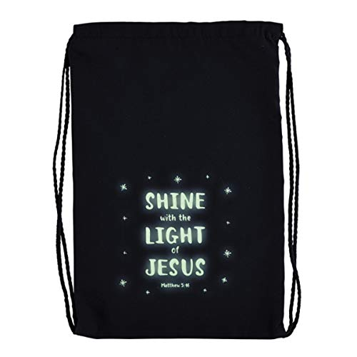 Shine With the Light of Jesus Glow-in-the-Dark Blue Drawstring Bag, 10 Inch x 15 Inch