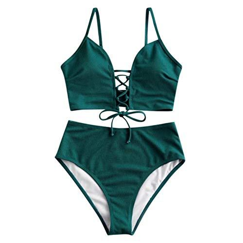 UKKD Bikini Women's Bikini Set Two Piece Lace-Up Floral Leaf Tankini Swimsuit