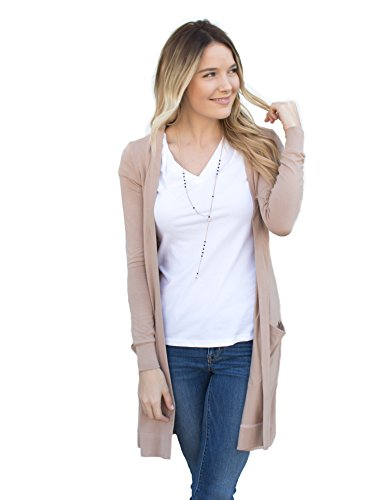 Tickled Teal Women's Soft Long Sleeve Pocket Cardigan (Tan, XL)
