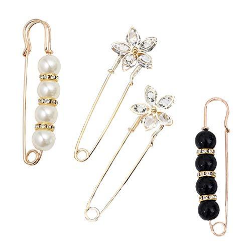 Gqavril12 Pince à châle pour Pull perlé Épingle de Sûreté en Cristal Epingles de sûreté pour Femmes Cristal Perle Grandes épingles Strass pour Femme Broche Perle(4 Pièces)