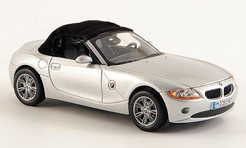 BMW Z4, silber, mit echtem Stoffverdeck, Modellauto, Fertigmodell, Norev 1:43