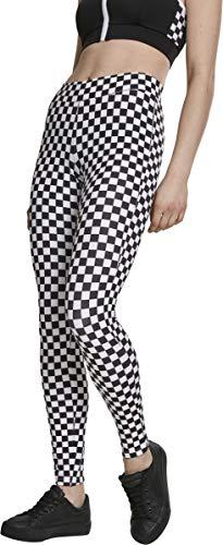 Urban Classics Damen Leggings mit Schachbrettmuster,Schwarz/Weiß, Größe S