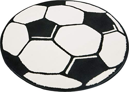 Hanse Home Kinderteppich Spielteppich Fußball Schwarz Creme rund, ø 100 cm
