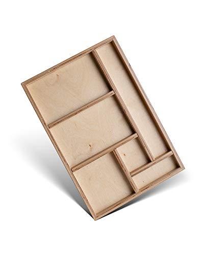 tiSsi Wkładka do szuflady z litego drewna Multiplex 45 x 5 x 31,5 cm pasuje do biurka Jonas i Paul, beżowa