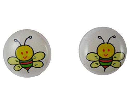 Ausgefallene Ohrringe Ohrstecker Stecker Cabochon Kunststoff Biene Insekt Bienchen 2682