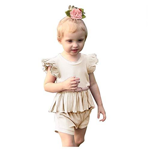 Kleinkind Baby Mädchen Rüschen Fliege Ärmel Solide Tops Kurze Hose Outfits Sets A136