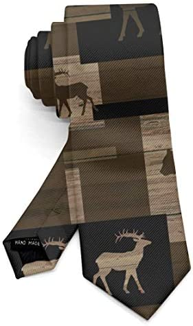 Casual Neckties Rustic Wood Bear Moose Pattern Youth Regular Tie for Shirt Suit Uniform Office product image
