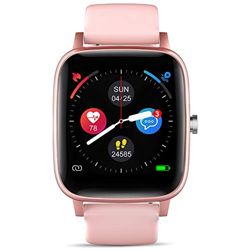 """LCW Smart Watch for iPhone Android, Fitness Tracker Health Watch w/Heart Rate Blood Oxygen Monitor, Body Temperature, 1.4"""" Touch Screen Smartwatch, Sleep Step Tracker, IP67 Waterproof (Pink)"""