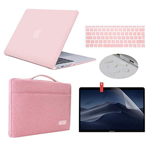 """MacBook Air 13 inch Case 2019 2018 Model A1932 Bundle 5 in 1, iCasso Hard Plastic Shell with Sleeve, Screen Protector, Keyboard Cover & Dust Plug Compatible New MacBook Air 13"""" - Pink"""