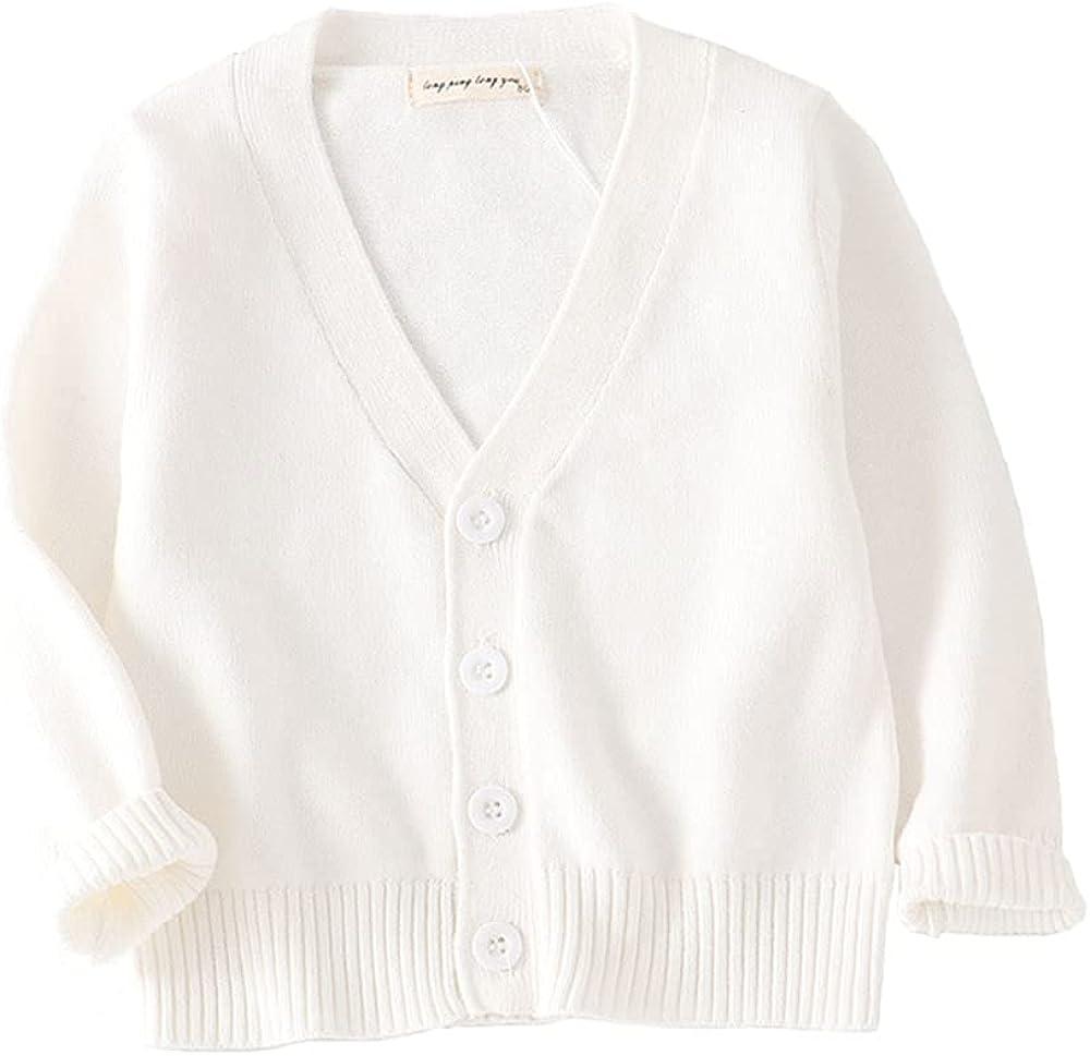 PTPUKE Unisex Boy' Girls' Cardigans Sweater V-Neck Long Sleeve Button Soild Cotton Knit Sweaters for 1-8 Years