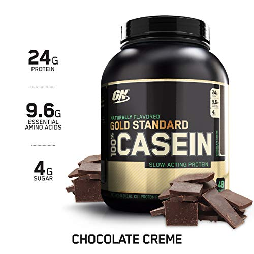 OPTIMUM NUTRITION GOLD STANDARD 100% Micellar Casein Protein Powder, Naturally Flavored Chocolate Crème, 4 Pound
