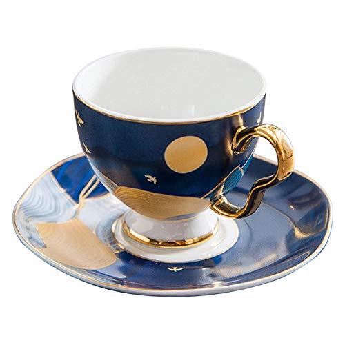 Pevfeciy Luxus Vintage Bone China kaffeetassen Set,Porzellan Keramik Tee-Tasse,200 Ml Kaffeetasse Mit Untersetzer Und Löffel, Kaffeeservice,#4