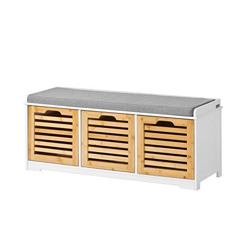 SoBuy FSR23-WN Moderne Schuhtruhe Sitzkommode mit 3 Körben Sitzbank Schuhschrank mit Sitzkissen Spieltruhe
