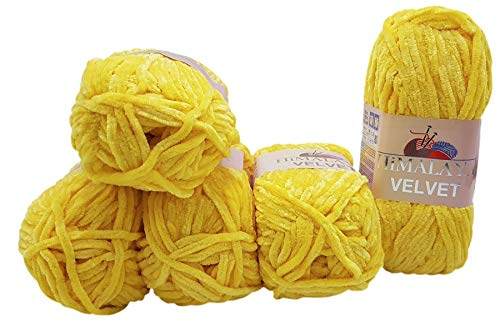 5 x 100 Gramm Himalaya Velvet Micro-Polyester Strickwolle , Babywolle samtig 500 Gramm Wolle (gelb 90013)