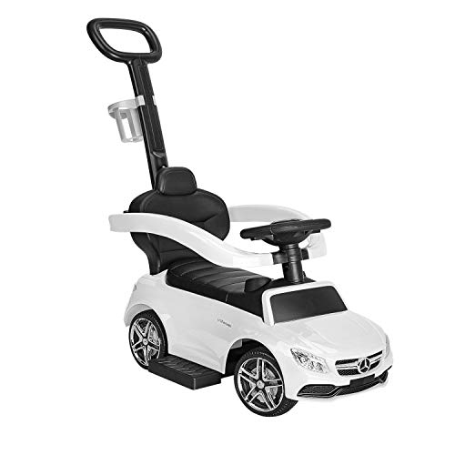 1 Year Old Push Car for Toddlers, 3 in 1 Riding Toys with Cup Holder, Push Round Buggy with Safety Bar, Kids Ride on Car, White