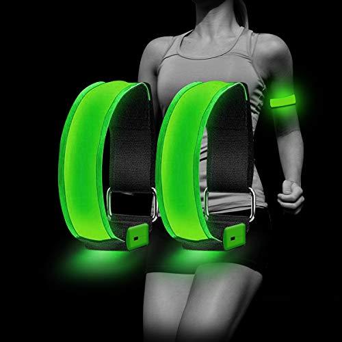 Dusor LED Armband Aufladbar, Licht Joggen Reflektorband Leuchtbänder, Laufen Licht für Handgelenk, Arm, Knöchel, Bein, Lauflicht für Läufer, LED Leuchtband Reflektoren Laufen, 2 Pack