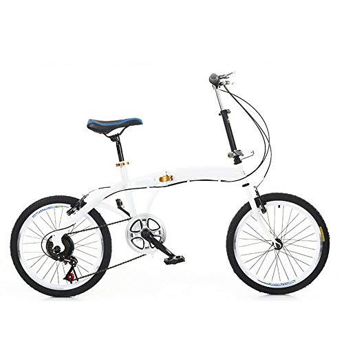 Fetcoi Bicicleta plegable de 20 pulgadas, plegable, 7 marchas, doble freno en V, 90 kg, para hombre, color blanco