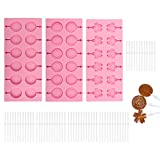 3 Pack Silicone Lollipop Molds,Sonku 12 Cavity...