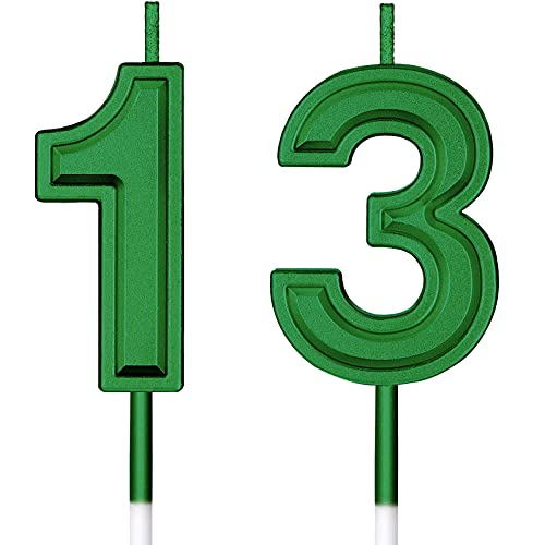 13th Birthday Candles Cake Numeral Candles Happy Birthday Cake Candles Topper Decoration for Birthday Wedding Anniversary Celebration Favor (Green)