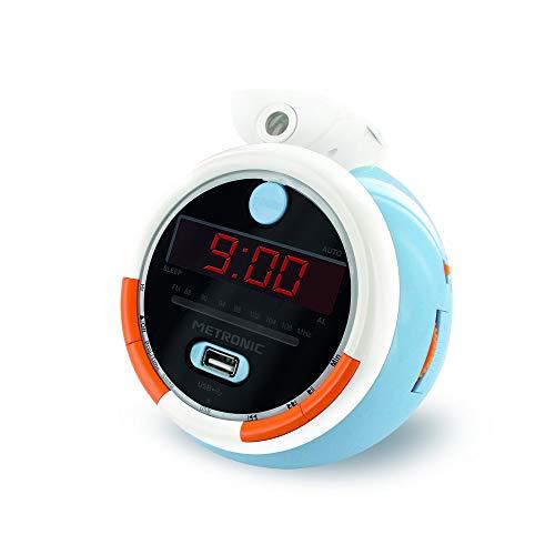 Metronic 477342 - Radio Reloj Despertador Digital para niños, con Reloj proyector Techo para Leer la Hora, diseño Infantil Le Petit Prince, Doble Alarma Radio FM, Toma USB