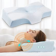 Cervical Pillows for Neck Pain Relief, Memory Foam Pillow for Sleeping, Orthopedic Neck Support Pillow for Side, Back, Stomach Sleeper with Breathable, Washable Cover- Lady Size [US Patent Design]