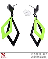 Neon Green and Black Rhombus Earrings