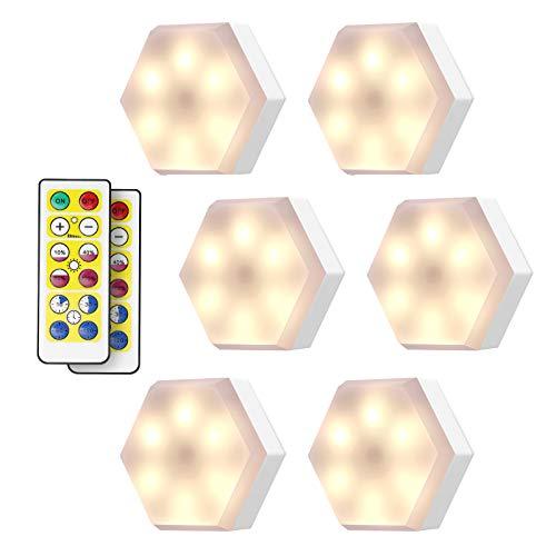 KINGSO Schrankleuchten LED Schrankbeleuchtung Nachtlicht mit Fernbedienung 4000K Warmweiß, Treppen Licht Batteriebetrieben Schranklichter für Schlafzimmer, Kleiderschrank, Küche - 6er Set