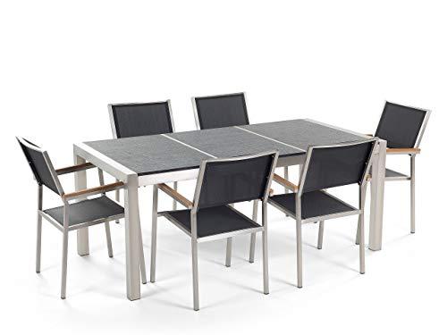 Tuintafel van roestvrij staal – plaat graniet drievoudig zwart gevlamd 180 cm met 6 stoelen van textiel GROSSETO