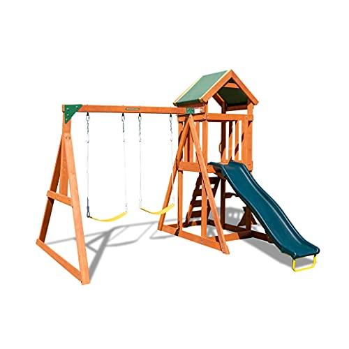 Sportspower Scottsdale Wood Swing Set with 2 Swings and Slide, Brown/Green