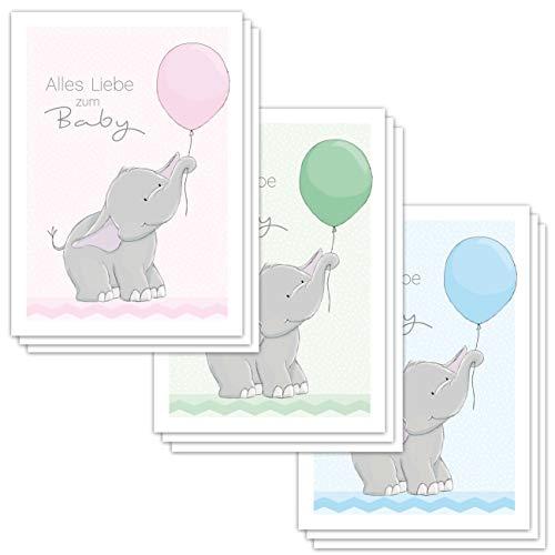 9 Glückwunschkarten zur Geburt'ELLY ELEFANT' DIN A6 / Grußkarten Baby DIN A6 / je 3 Stück in rosa grün und hellblau