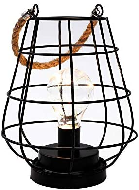 JHY DESIGN 8 5 Cage Bulb Lantern Decorative Lamp Battery Powered Cordless Accent Light with product image
