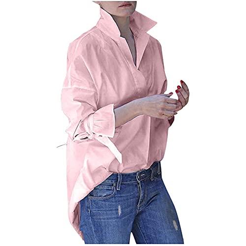 Camiseta Mujer Manga Larga 2021 de Color Liso Camisas Mujer de Solapa Casual para Otoños Invierno Blusas de Mujer Suelta Tops Casual Mujer Ideal para Vida Diaria,Trabajo